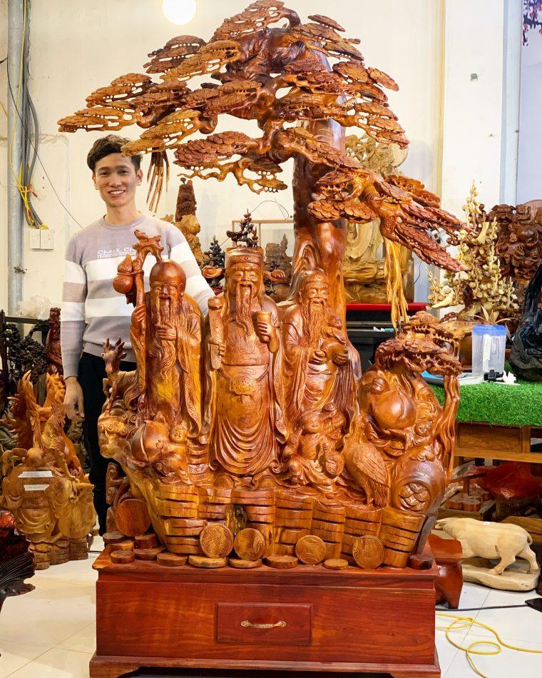 Tượng Tam Đa gỗ hương cao 2m03